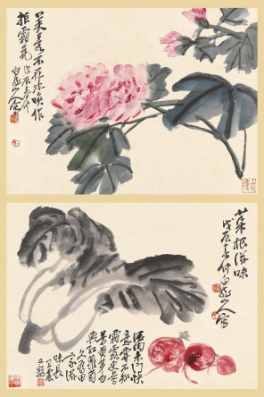 Zhang Daqian, Flowers and Trees of the Four Seasons, 1945, ink on paper , 363 x 70 cm . Courtesy of the M K Lau Collection.